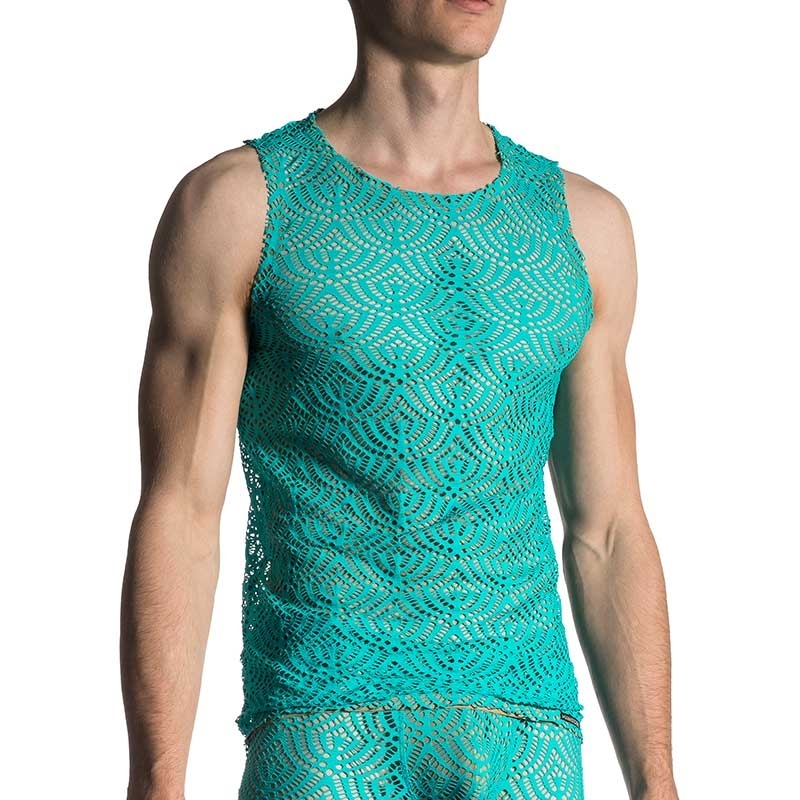 MANSTORE TANK TOP comfort SPORT LACE Slim Style M659 Club Wear blue-green