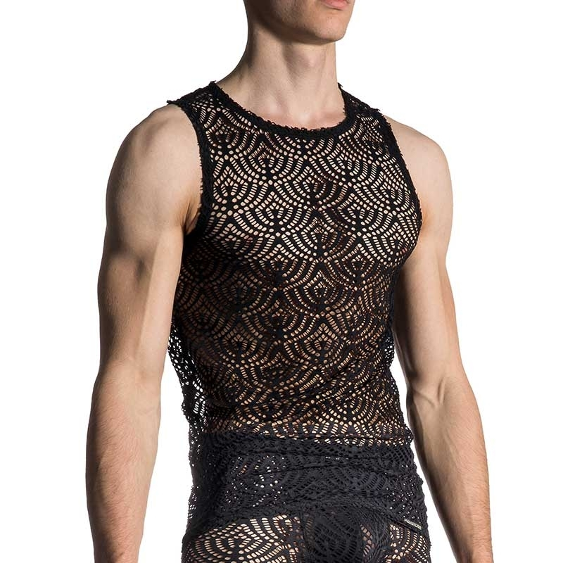 MANSTORE TANK TOP comfort SPORT LACE Slim Style M659 Club Wear black