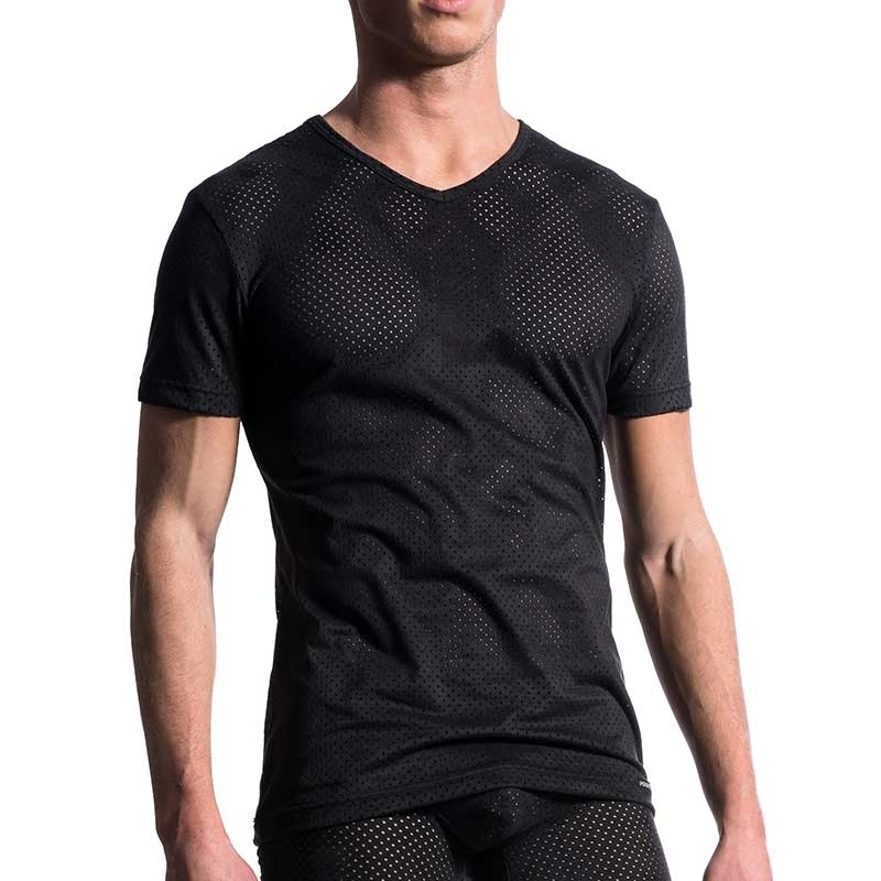 MANSTORE T-SHIRT comfort DUNKEL ARMY V-NECK Netz Club M603 Aktiv Wear black