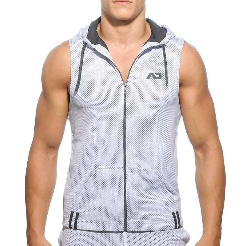 ADDICTED TANK HOODIE athletic NETZ SPORT Kapuze AD-355 Aktiv Wear white-grey