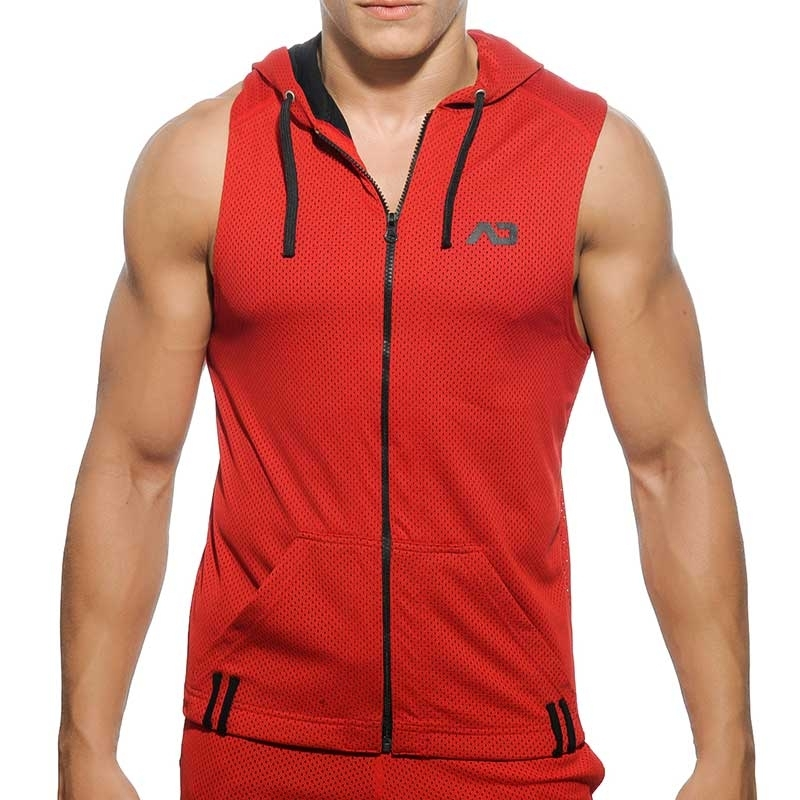 ADDICTED HOODIE TANK mesh AD355 luftig in red