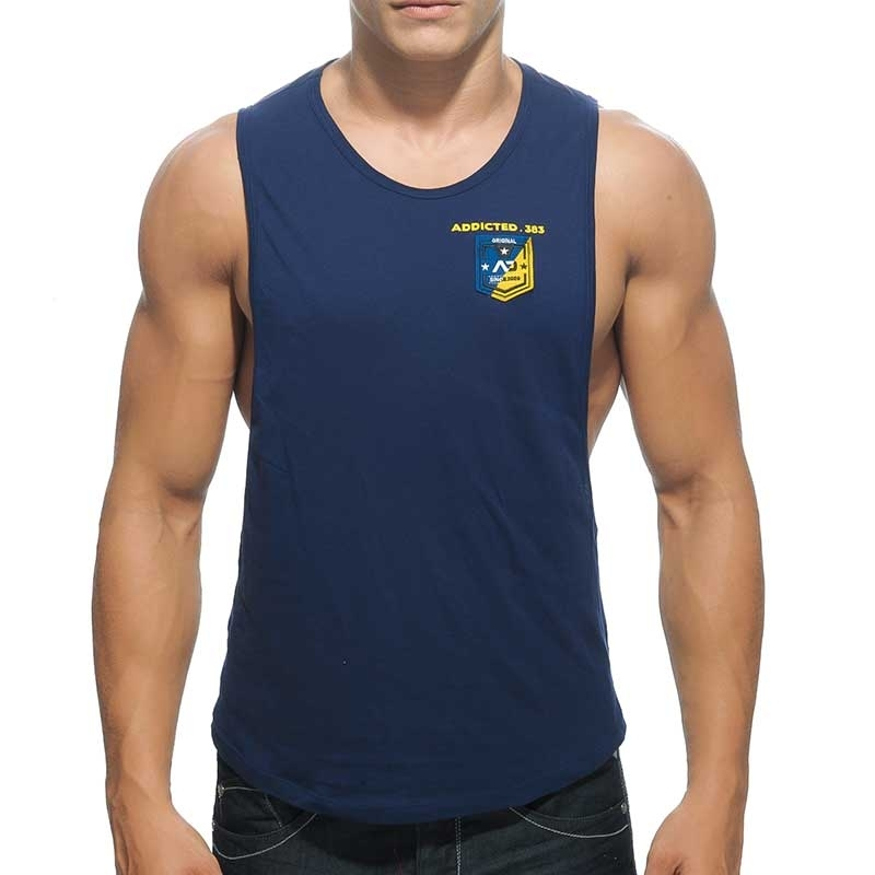 ADDICTED TANK TOP athletic MEISTER WETTKAMPF Sportler Badge AD-383 Aktiv Wear navy