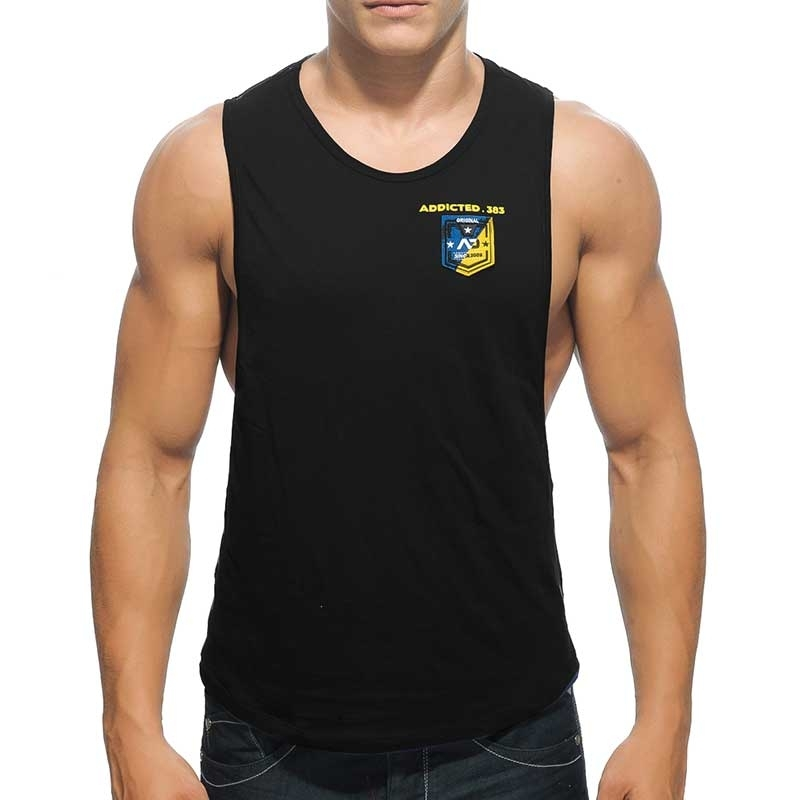 ADDICTED TANK TOP athletic MEISTER WETTKAMPF Sportler Badge AD-383 Aktiv Wear black