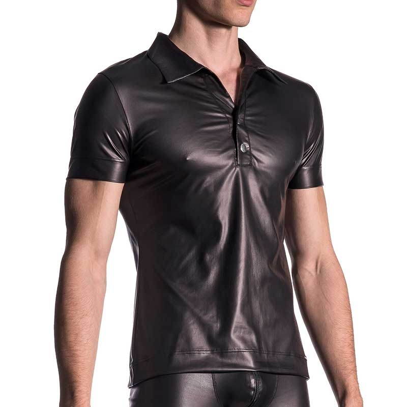 MANSTORE T-SHIRT hot POLO DAMN Wet Leder M510 Club Wear black