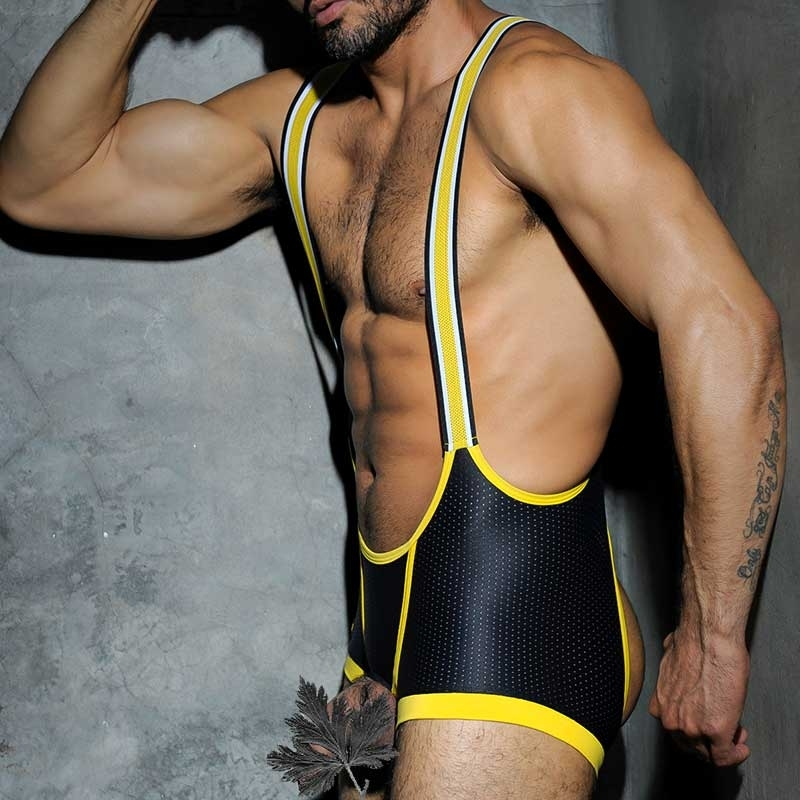 AD-FETISH backless BODY open ADF14 all out mesh Cockring in yellow