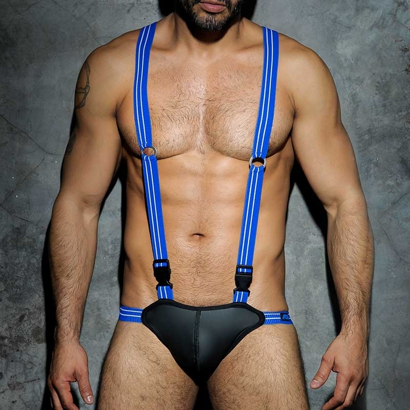 AD-FETISH neoprene like BODY Jock wet ADF25 backless blue straps