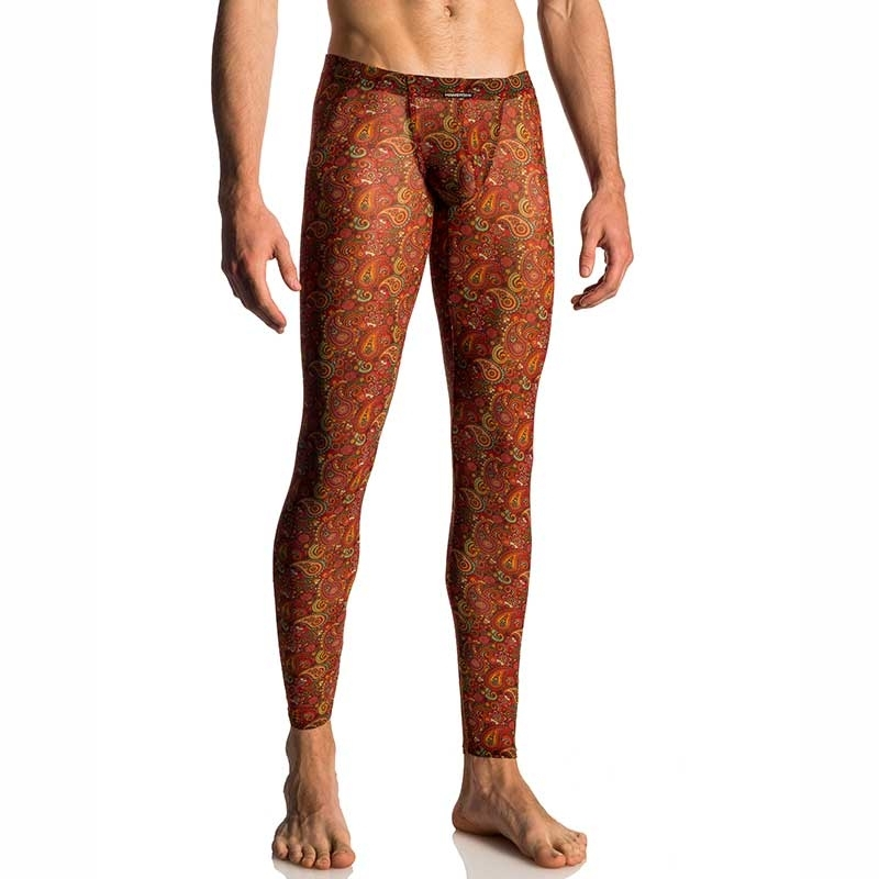 MANSTORE LEGGINGS hot HIPPIE BLAZE Paisley Print M655 Club Wear red-orange