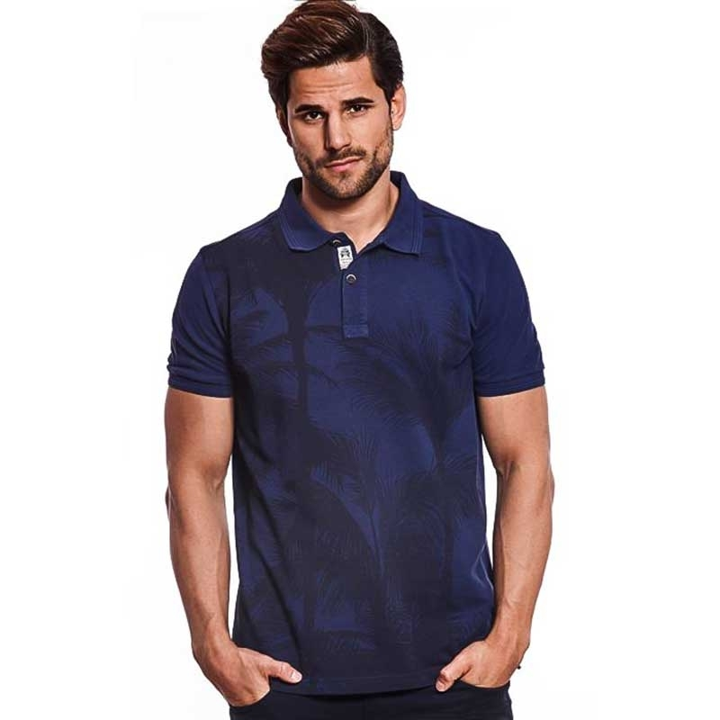 CARISMA POLO SHIRT modern TIMMY ABEND LOOK Palme Druck CRSM 4413 Mainstream navy