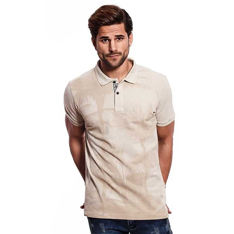 CARISMA POLO SHIRT modern TIMMY ABEND LOOK Palme Druck CRSM 4413 Mainstream beige