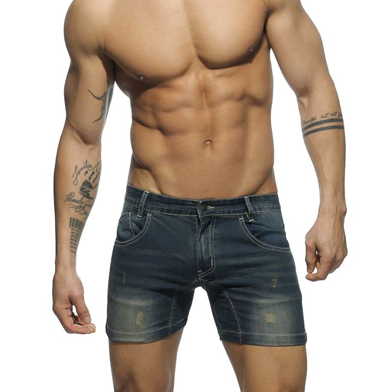f45074eba29347 Men s darkblue jeans SHORTS Low rise cut AD530 as hipster jeans ...