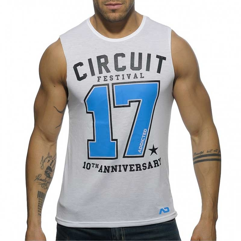 ADDICTED TANK TOP regular CIRCUIT BOY 2017 Print AD-518 Club Wear white