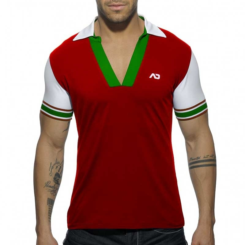 ADDICTED POLOSHIRT AD526 offener V-Neck in red