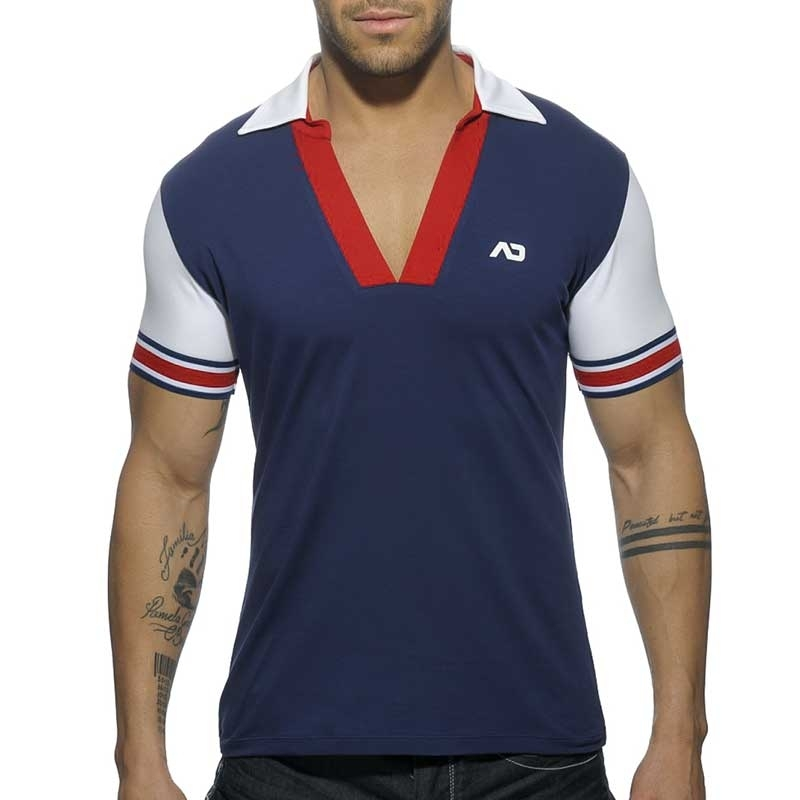 ADDICTED POLOSHIRT AD526 offener V-Neck in dark blue
