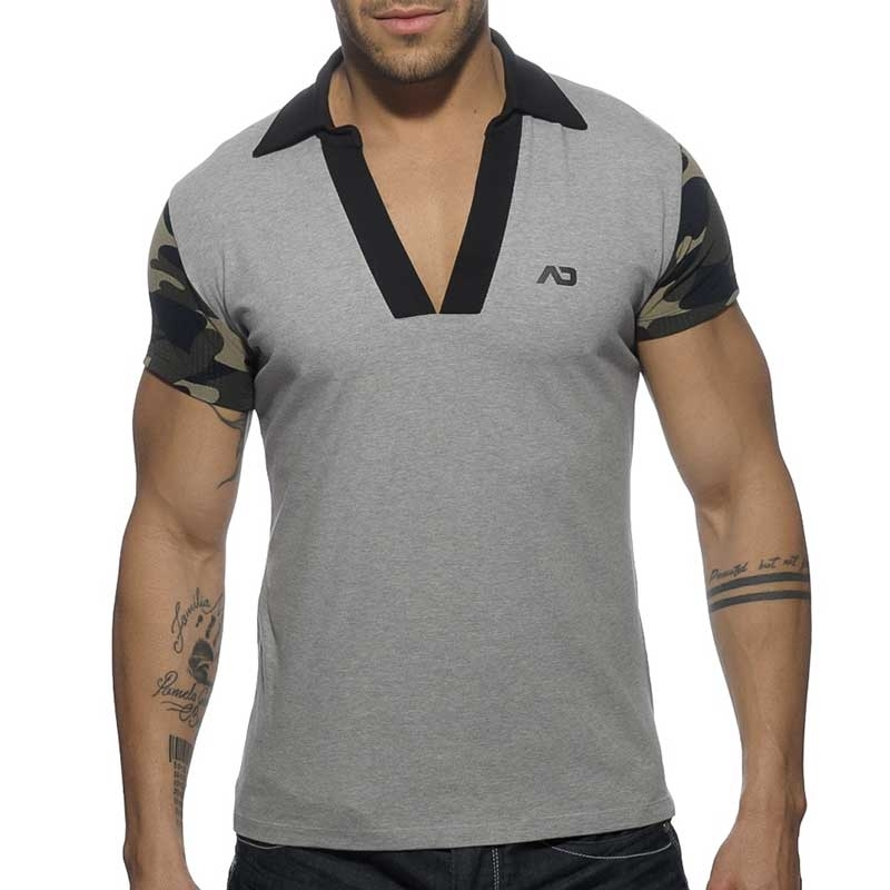 ADDICTED POLOSHIRT AD527 offener V-Neck in grau