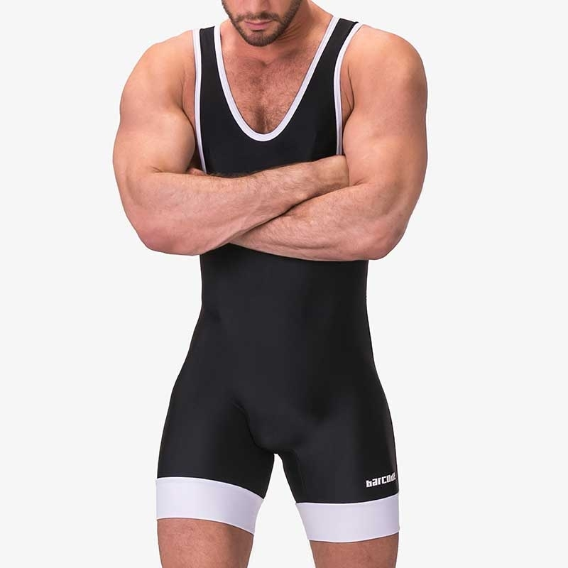 BARCODE Berlin BODY hot PINO SINGLET Ringer 91346 Club Wear black-white