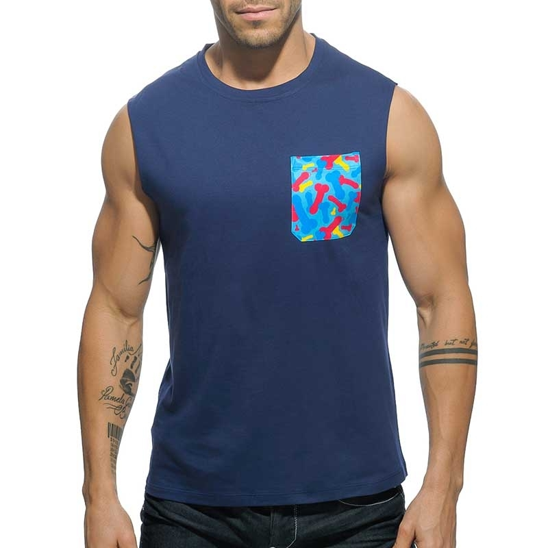 ADDICTED TANK TOP regular PENIS TANK DAVE Tasche AD-525 Club Wear navy