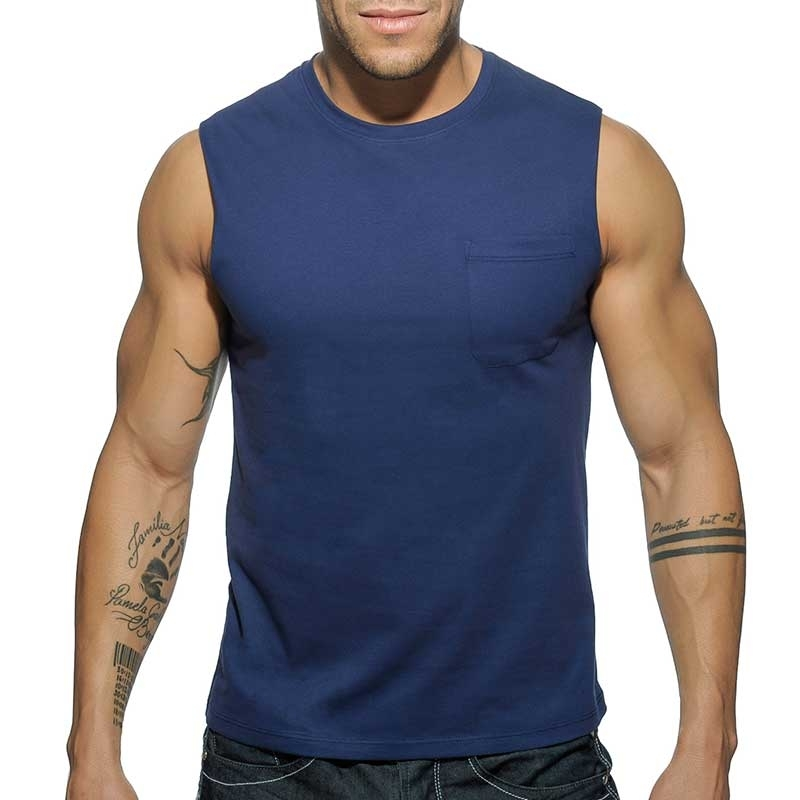 ADDICTED TANK TOP comfort BASIC WORKOUT MIKE Gym AD-531 Streetwear navy