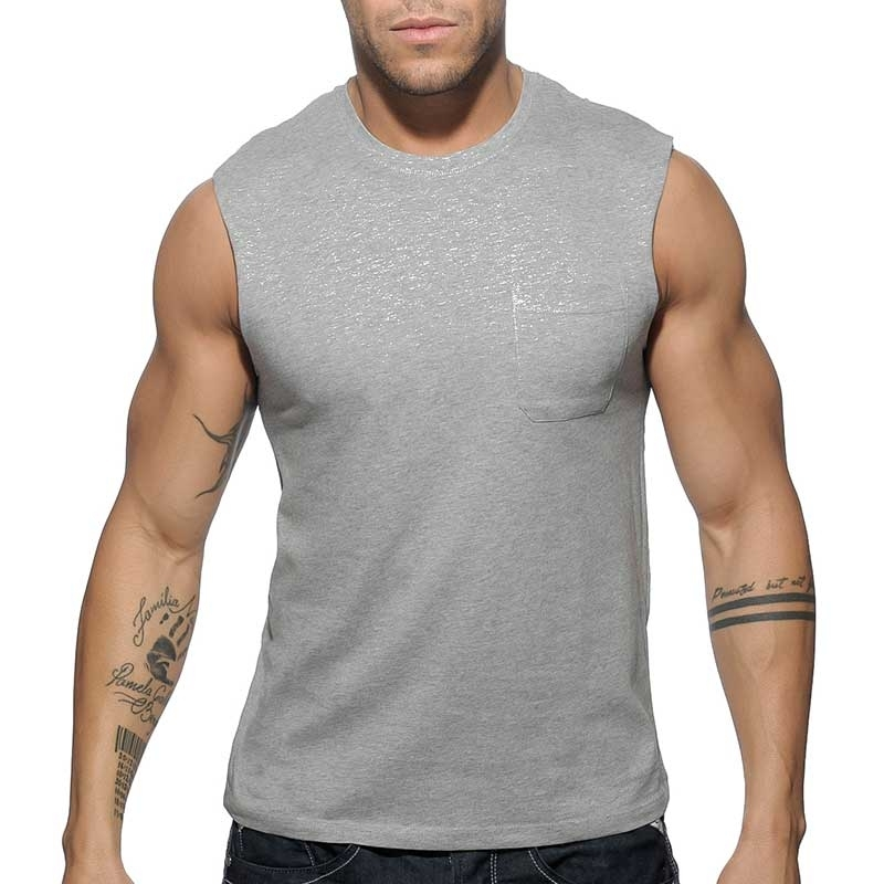 ADDICTED TANK TOP basic AD531 with breast pocket in grey