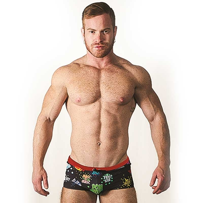 MISTER B SWIM PANT hot TEL AVIV Pop Art bedruckt MB-820640 Strand Wear black