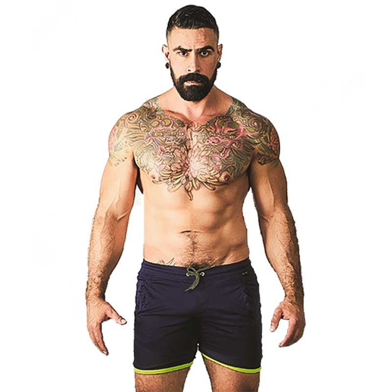 MISTER B SHORTS hot URBAN GRAN CANARIA Skater MB-820690 Strand Wear navy-neon green