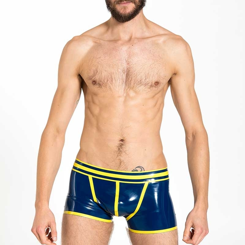 MISTER B RUBBER SHORTS hot FETISH VECTOR Latex MB-359010 Club Wear blue-yellow