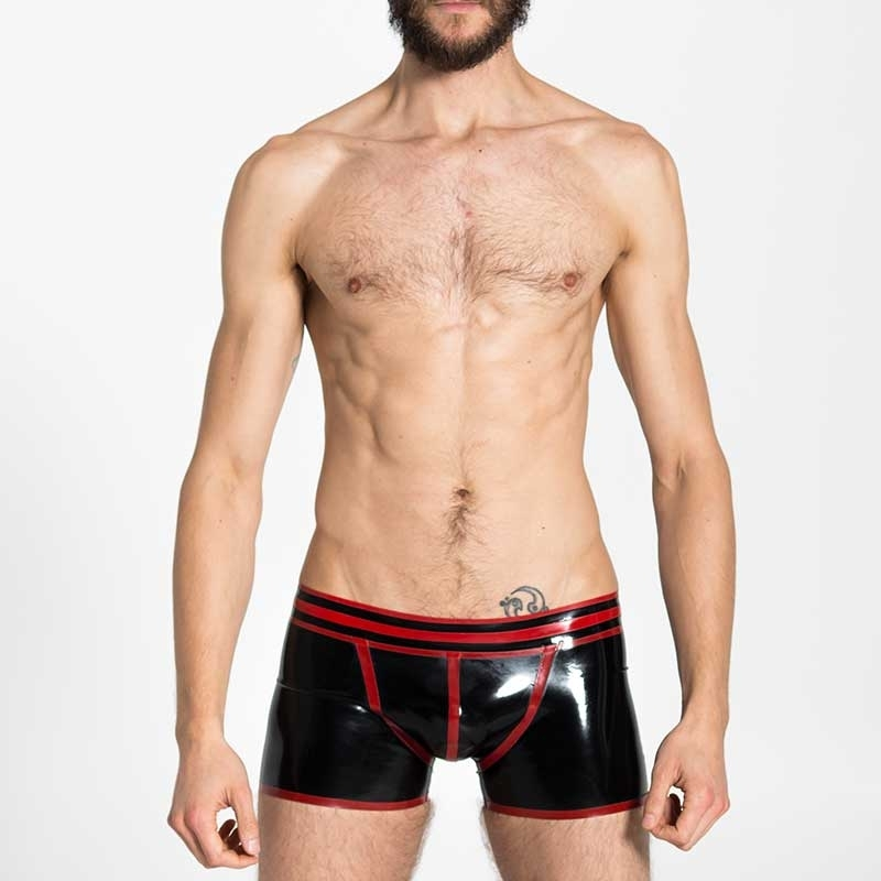 MISTER B GUMMI SHORTS hot FETISCH VECTOR Latex MB-359120 Club Wear black-red