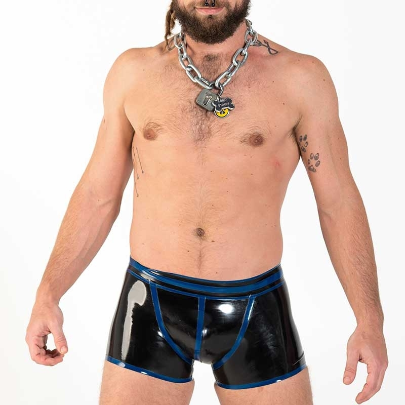 MISTER B GUMMI SHORTS hot FETISCH VECTOR Latex MB-359130 Club Wear black-blue