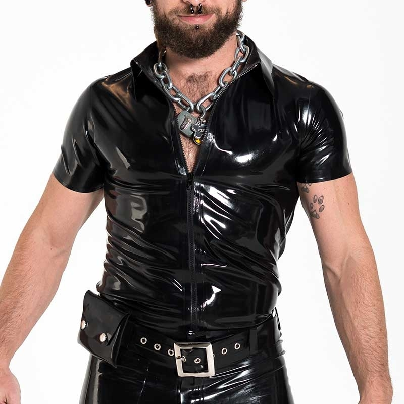 MISTER B GUMMI SHIRT hot FETISCH ZIPP POLO ALEX Latex MB-356010 Club Wear black