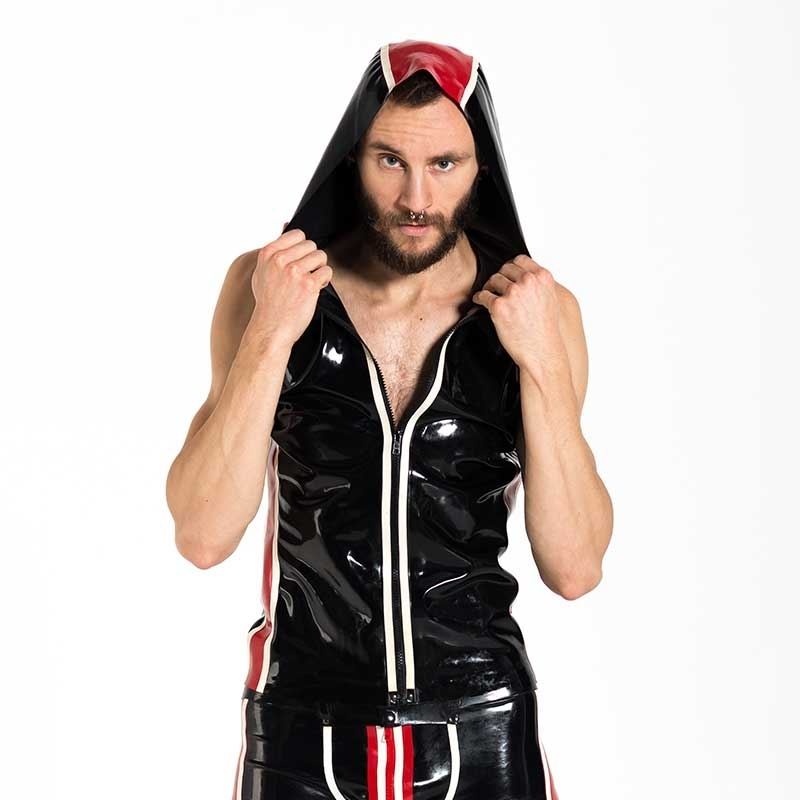 MISTER B GUMMI HOODIE hot FETISCH ZIPP RODRIGO Kapuze Latex MB-302400 Club Wear black-red-white