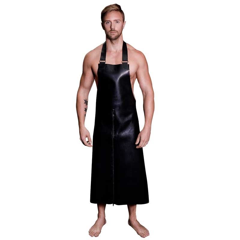 MISTER B RUBBER APRON hot FETISH ZIPP BUTCHER Latex MB-320310 Club Wear black