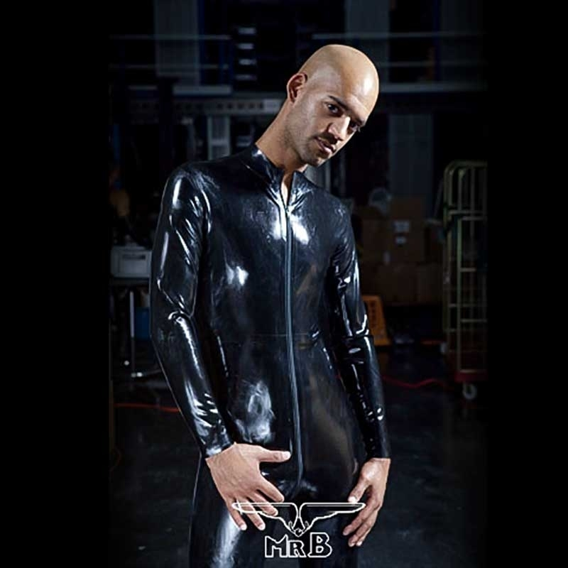 MISTER B RUBBER SINGLET hot FULL ZIPP BODYSUIT STEVEN Latex MB-313600 Club Wear black