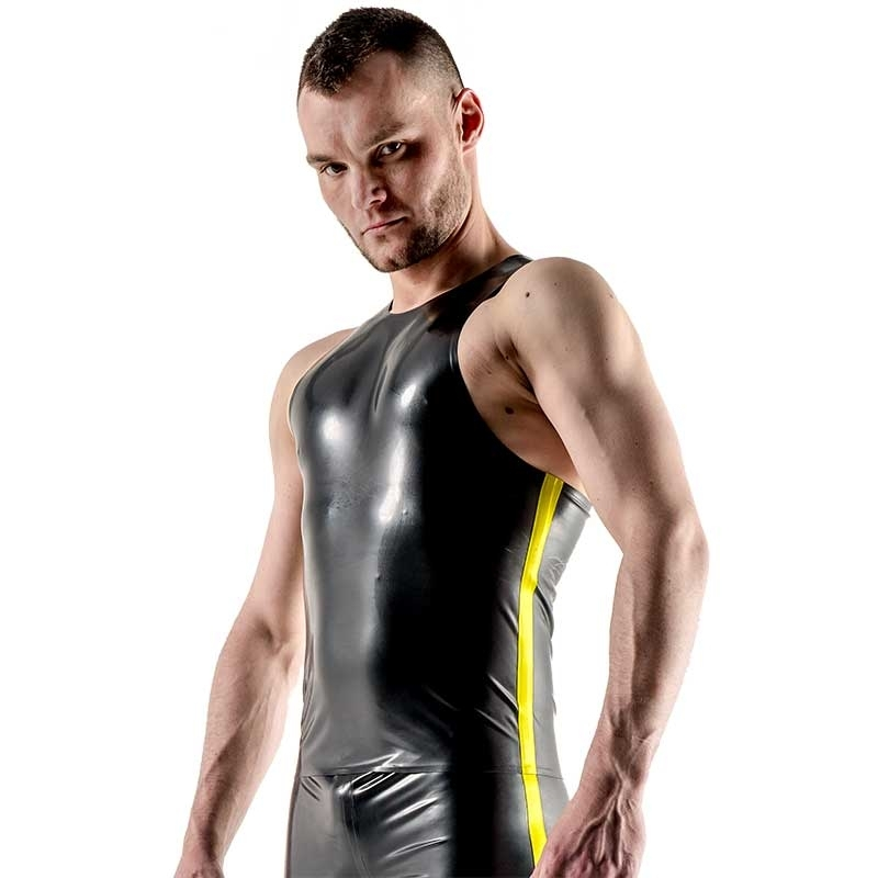 MISTER B GUMMI TANK TOP hot FETISCH NEON STREIFEN SETH Latex MB-300360 Club Wear black-yellow