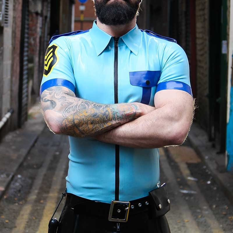 MISTER B GUMMI POLO SHIRT hot FETISCH POLIZEI AXLE Latex MB-357010 Club Wear blue