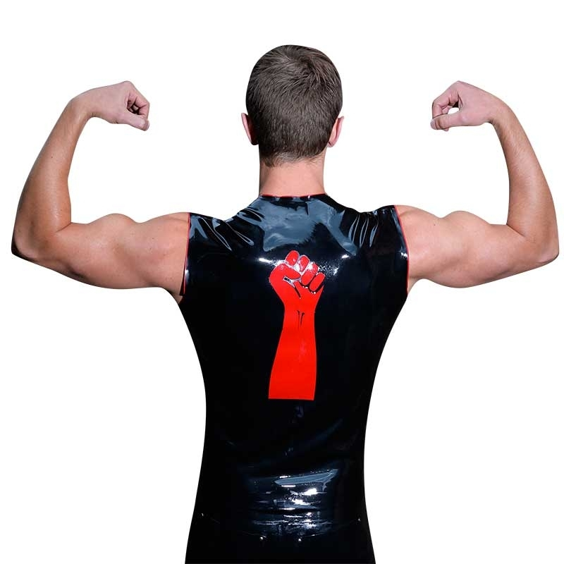 MISTER B RUBBER TANK TOP hot CUT OFF FIST SHIRT Latex MB-302300 Club Wear black-red