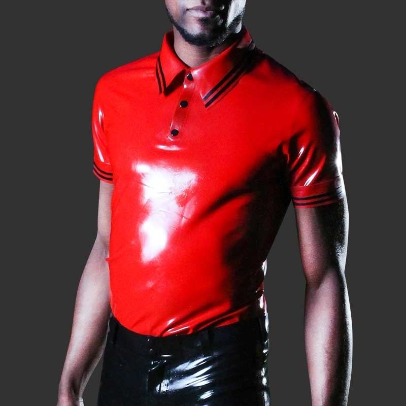 MISTER B GUMMI SHIRT hot FETISCH POLO JAMES Gestreift MB-358010 Club Wear red
