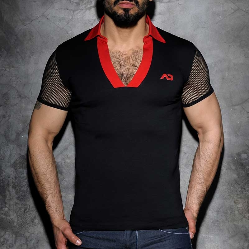 ADDICTED POLO SHIRT modern FETISCH NETZ BROOK Kragen ADF36 Mainstream black-red