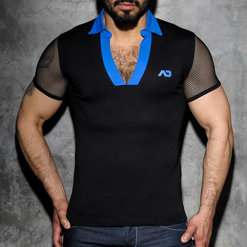 AD-FETISH POLO T-SHIRT ADF36 Netz am Arm code blau