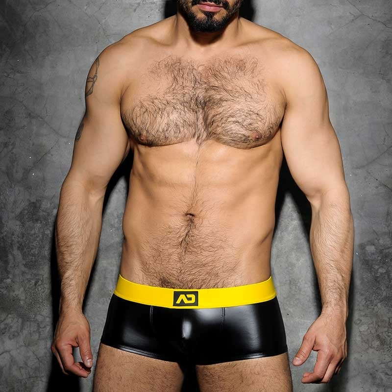 ADDICTED PANT hot FETISCH JOSH Wet Look ADF49 Club Wear black-yellow
