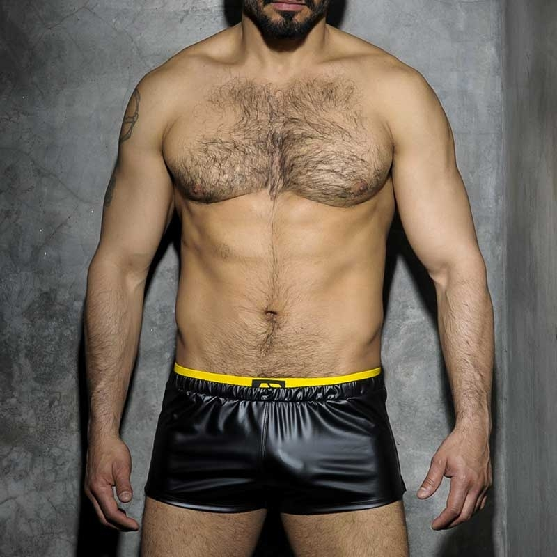 ADDICTED SHORT hot FETISCH JOSH Wet Look ADF50 Club Wear black-yellow