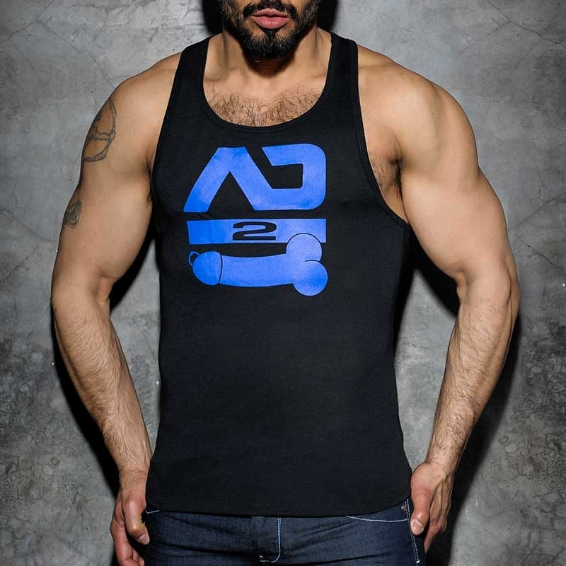 ADDICTED TANK TOP hot DOPPEL SCHWANZ MAX Hanky Code ADF56 Fetisch Club black-royal