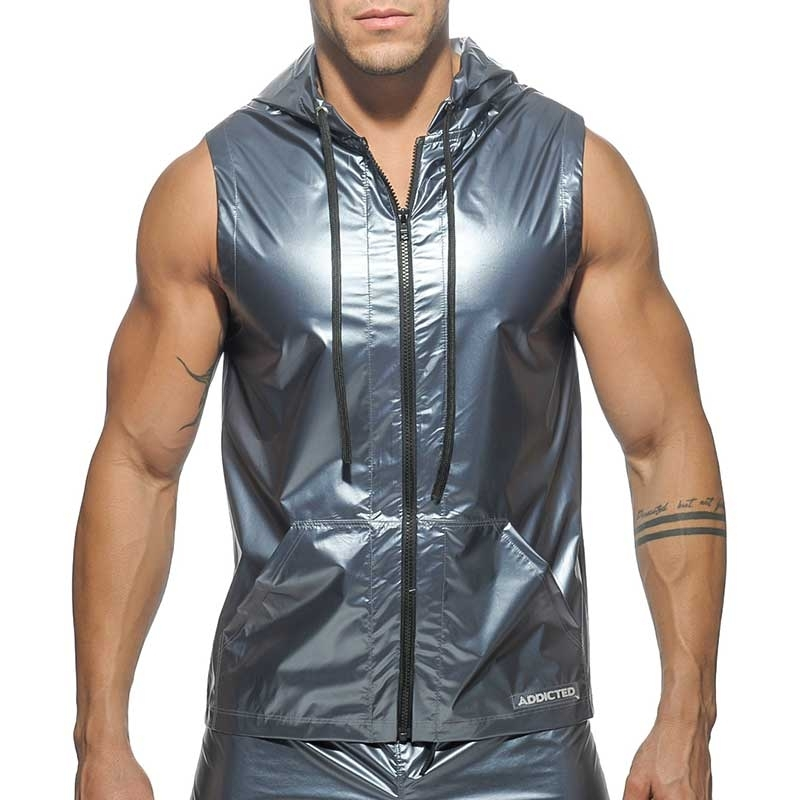 ADDICTED HOODIE TANK modern METALLISCH SPACE MANN GoGo AD400 Club Wear grey-silver