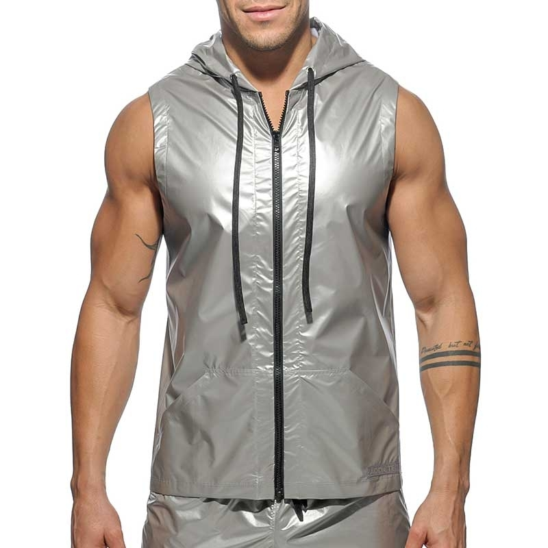 ADDICTED pvc HOODIE TANK AD400 silber metallisch Space Man
