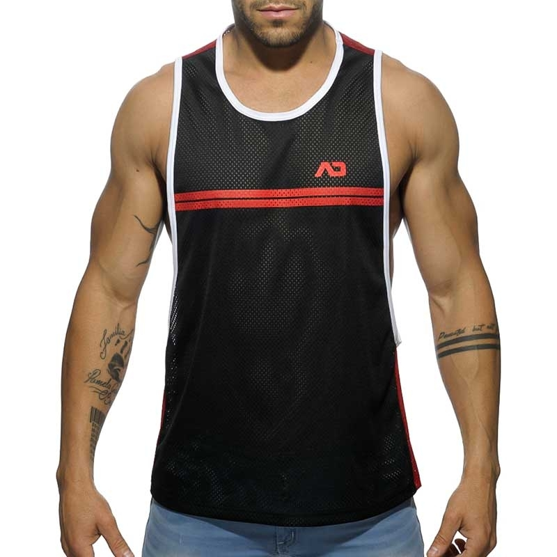 ADDICTED TANK TOP comfort SPORTLICHES NETZ ROB Gestreift AD555 Casual Wear red-black