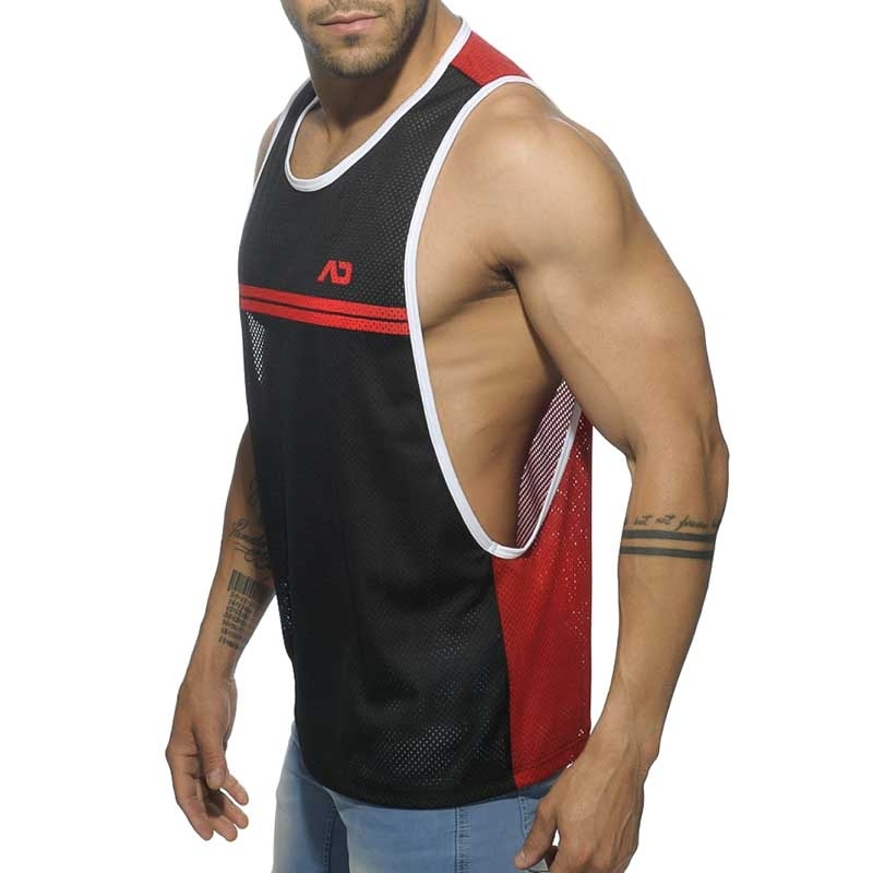 ADDICTED TANK TOP AD555 color contrast stripes