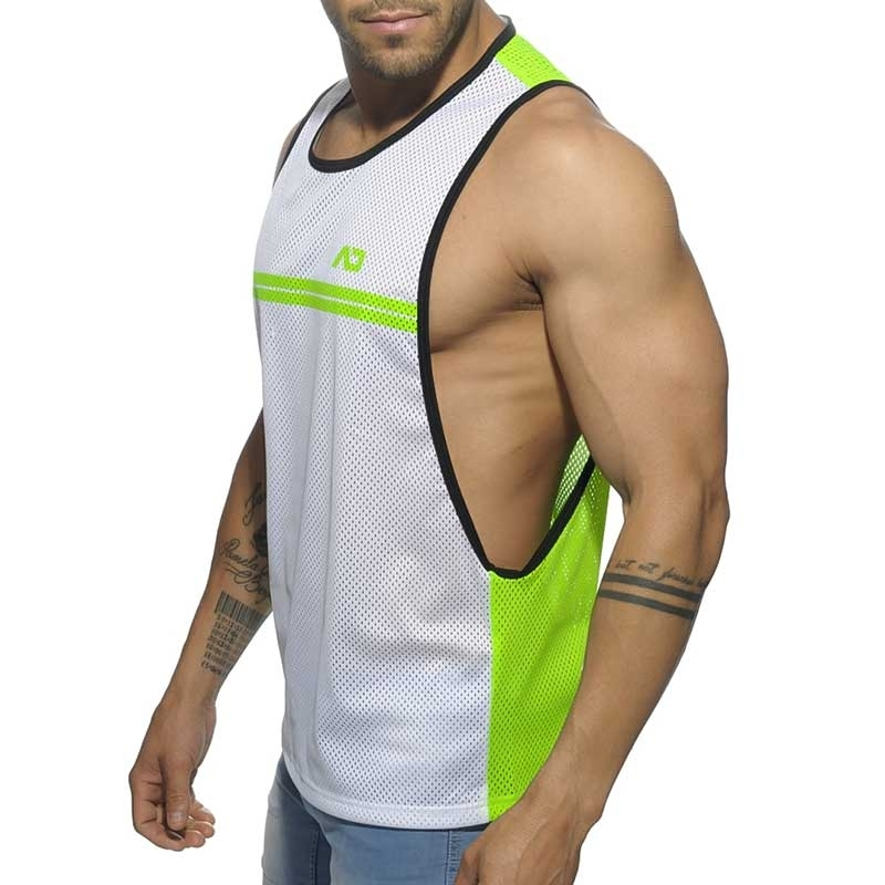 ADDICTED TANK TOP comfort SPORTLICH NETZ ROB Gestreift AD555 Casual Wear neon green-white