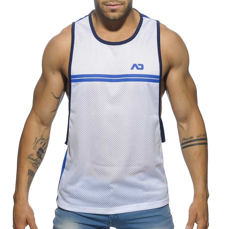 ADDICTED TANK TOP comfort SPORTLICH NETZ ROB Gestreift AD555 Casual Wear royal-white