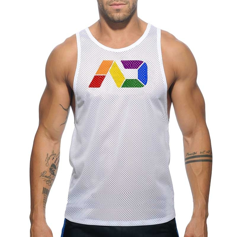 ADDICTED TANK TOP modern REGENBOGEN NETZ CSD AD542 Club Wear white