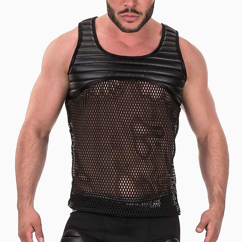 BARCODE Berlin TANK TOP hot MESH GRAYSON Wet Look Padding 91372 Fetish Wear black