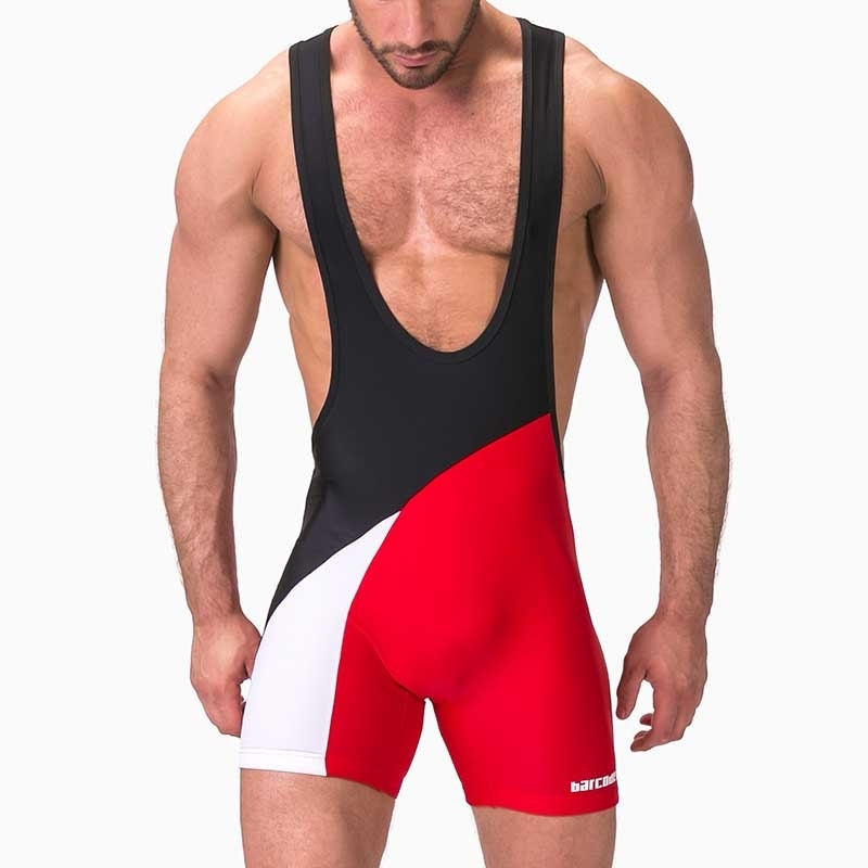 BARCODE Berlin SINGLET modern WRESTLER LUCKENWALDE Contact Sport 91345 Club Wear red-black-white