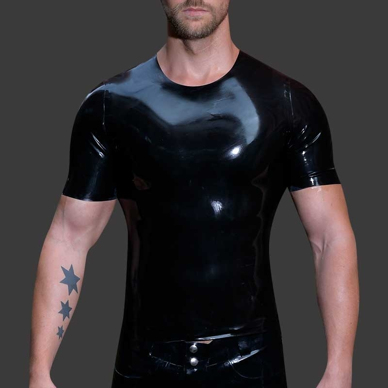 MISTER B GUMMI T-SHIRT Latex FETISCH BASEBALL WHISPER Geklebt MBL-300800 Club Wear black